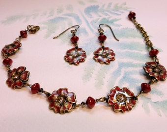Hand-Painted Victorian Style Wild Rose Bracelet and Earring Set