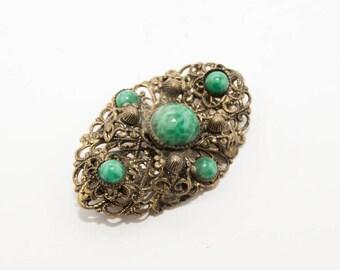 Vintage brooch 7114 bronze with malachite filigree