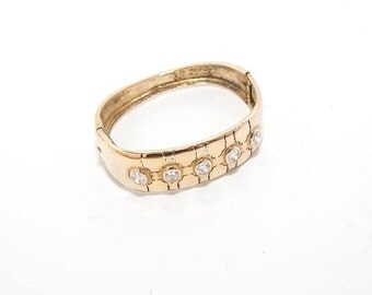 Vintage sterling silver-gold plated bracelet with zirgon 4065