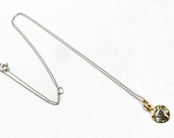 """Sterling silver-gold plated pendant with """"heart"""" and chain 7024"""