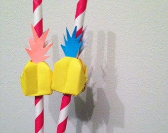 10x Colourful Paper Pineapple Straws- Perfect for Birthday Parties and Special Occasions!