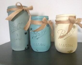 Custom Painted Distressed Mason Jar - QUART