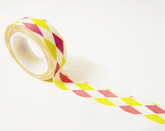 Japanese Washi Tape Rice Paper Tape Masking Tape - White Background Argyle Pattern (10m)