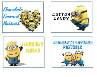 minion candy buffet lables. Printable labels.