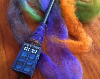 Timey Wimey Glow in the Dark Police Box Tibetan Spindle