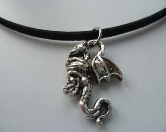Dragon choker, dragon necklace,silver dragon,fandom,black choker,gift.fantasy,dragon jewellery,fairytale,suede choker