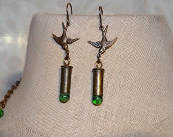 Bullet Sparrow Earrings - .22 Caliber Bullet Casings