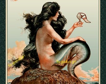 MERMAID WITH SHOE restored Vintage French La Vie Parisienne cover 8x10 digitally enhanced reproduction art print