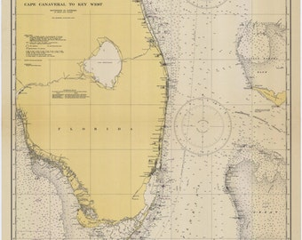 Cape Canaveral to Key West Historical Map 1945