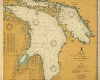 Lake Huron Historical Map 1917