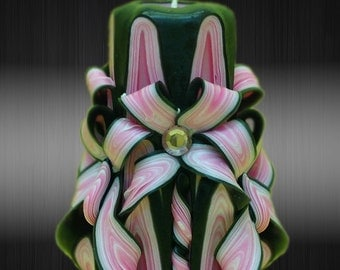 """12cm/5"""" Carved Candle - Small Candle - Black/Pink Candle"""