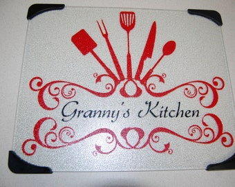 Personalized Slip Resistant Glass Cutting Board for a Wedding, Shower, Housewarming, Birthday, or Other Gift Giving Occasion