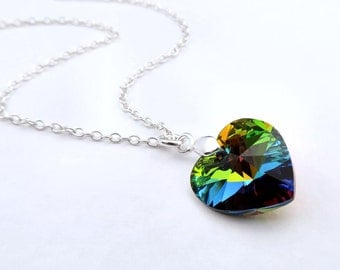 Vitrail Heart Necklace, Crystal Heart Necklace, Crystal Necklace, Sterling Silver, Heart Pendant Necklace