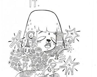 Don't Stress It Original Ink Drawing