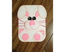Easter Bunny Card.  Punch art Bunny Rabbit. Fun and Cute Card. Pink bunny card.
