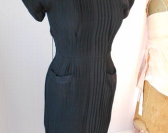 Bombshell 1940's Black Pleated Dress