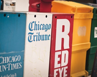 Chicago city photograph ~ city color photo ~ industrial Chicago photo ~ Chicago wall art ~ colorful Chicago photo ~ Chicago newspapers