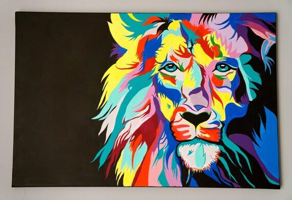 fr listing  peinture acrylique tete portrait lion
