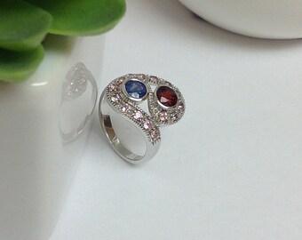 Genuine Blue Sapphire, Rhodolite Garnet and Pink Sapphire S Shape Ring