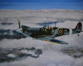 A Spitfire V from 303 Squadron RAF flying above the clouds in 1942. A limited edition Giclee print from my original acrylic painting