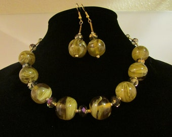 Olive Sparkling Necklace and Earrings