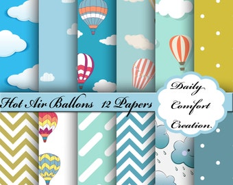 Hot Air Balloons Digital Paper, Balloons Digital Paper, Balloons Scrapbook Paper, Digital Paper, Hot Air Balloon Paper, Scrapbook, #5374