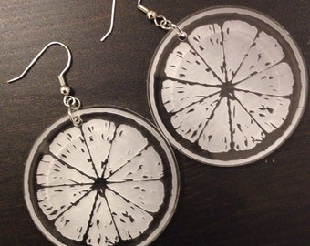 Acrylic Etched Citrus Earrings