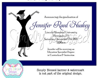 ANY COLOR College Graduation Party Invitation- DIY By SimplyBlessedDesign