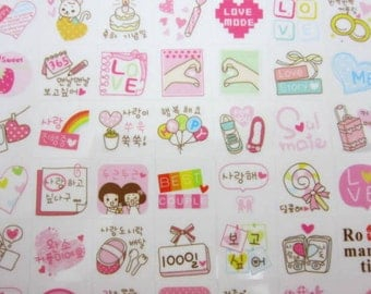 2 sheets Korean love stickers, kawaii couple stickers, relationship holding hands, boyfriend girlfriend, dating stickers, planner stickers