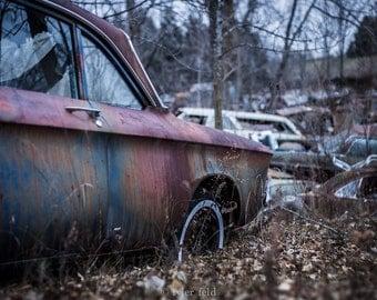 Rusty Classic Car Junk Yard Photo Print *Wisconsin*