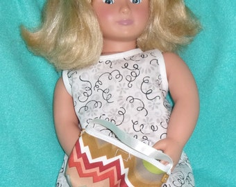 AG Doll Purse, multicolor earth tones with white trim and brown buttons