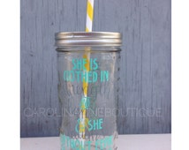 She is Clothed in Strength and Dignity 24oz Glass Mason Jar Tumbler