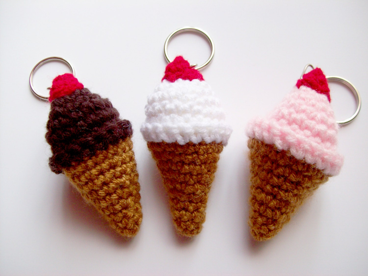 Crochet Keychain : Ice Cream Keychain, Amigurumi Crochet Key Ring, Kawaii Cute Bag Charm ...