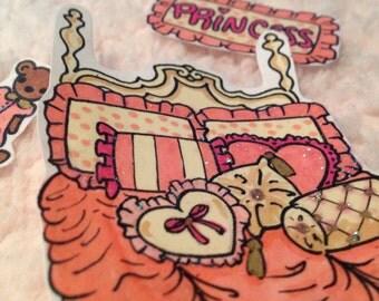 Pink Princess Suite Handmade stickers
