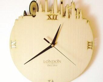 """Wooden wall clock - World cities """"LONDON"""""""