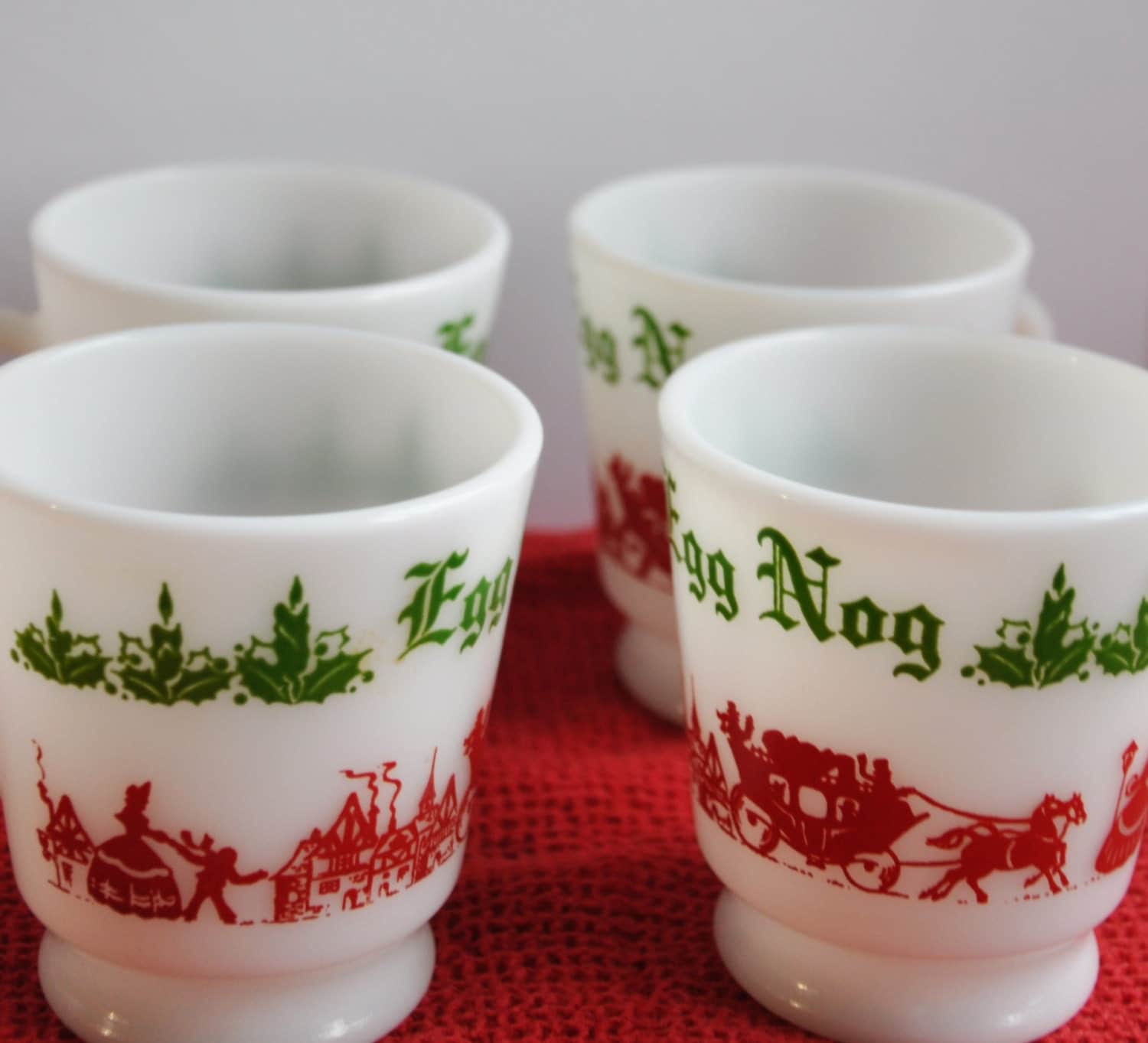 Vintage Egg Nog Cups : Set of Four by FrugalLittleBungalow on Etsy
