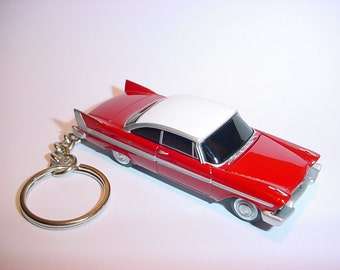 3D Christine 1958 Plymouth Fury custom keychain by Brian Thornton keyring key chain finished in red color trim diecast metal hood opens