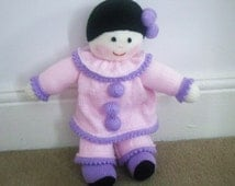 Hand Knitted Pierrot Doll - Size 15 Inches (Made to Order)