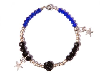 "Bracelet ""Bahia"" Silver roses black glass beads black"