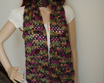Multicolor scarf. Beautiful colors for this season. Made out of soft yarn. Light weight scarf.
