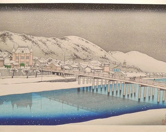 "Japanese Ukiyoe, Shin-hanga, Woodblock print, antique, Hashiguchi Goyo, ""Sanjo Bridge, Kyoto"""