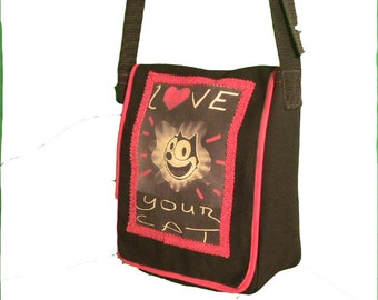 Love Your Cat Carry All Bag, black canvas