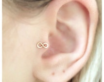 TINY 14K Gold Filled, Sterling Silver Infinity Sign Tragus Earring, Nose Ring, Cartilage Ring