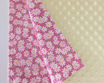 Pink and yellow minky baby blanket, pink flowers blanket, yellow minky baby blanket