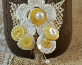 Yellow and White Button Boutonniere