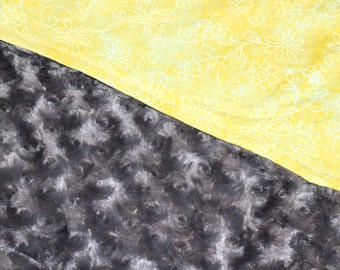 Yellow and Grey Minky Blanket