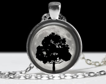 Tree Necklace Moon and Tree Silhouette Necklace Wearable Art Pendant Charm