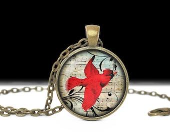Cardinal Jewelry Bird Pendant Wearable Art Bird Pendant Charm Bird Cardinal Necklace