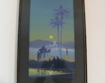 Vintage Midnight At The Oasis Acrylic Painting By Alvarez