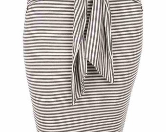 Stripe Tie Midi Pencil Skirt